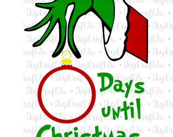 Grinch Hand Ornament Countdown to Christmas | SVG, PNG, JPEG File | Cricut or Silhouette Ready!