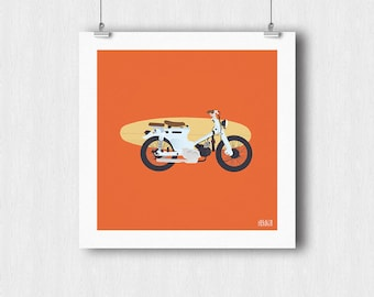 Poster bike with surfboard