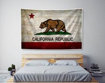 Rustic California Flag Tapestry Fabric Art Print Wall Hanging