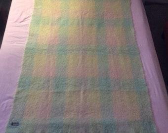 Glen Cree Vintage Mohair Throw Blanket Multi Color Pastel Check 70x44