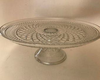 """Vintage  Wexford Glass Cake Plate Stand  Anchor Hocking-""""Wexford"""" Diamond Pattern- Nice"""