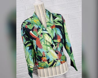 Vtg 80s Jane Tise Multicolored Tropical Floral Jacket