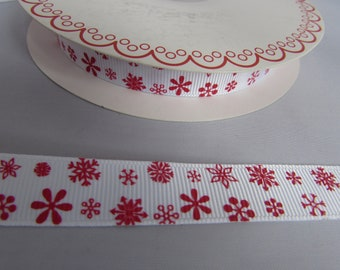 White Ribbon with Red Snowflake