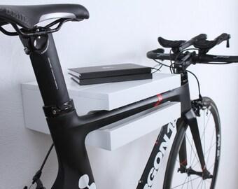 Amsterdam - Bike rack wall / wooden bike shelf / bike holder / White