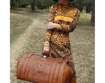 AMAZING 50s  XXL  Tooled  Leather Luggage // Train Travel suitcase // 1950s luggage
