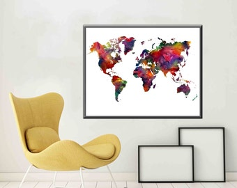 Large World Map Rainbow Colors World Map Art Print World Map Poster World Map Print World Map Wall Decor Colorful World Map