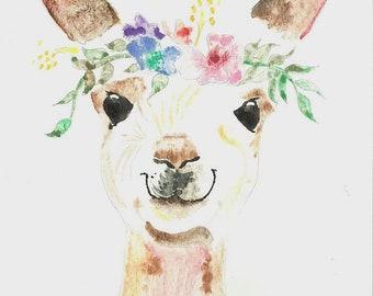 Princess Llama watercolor painting print 16 x 20 children's room art, nursery art, hand painted