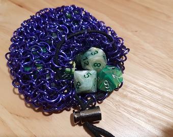 small purple dice bag