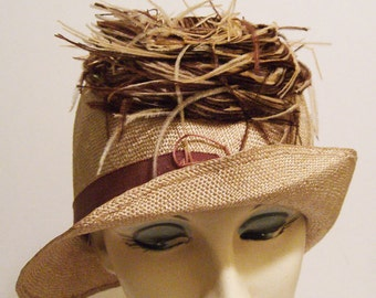 "22"" - Vintage 1920s Flapper Straw Cloche with Feathers"