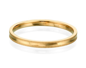 Gentle 2mm 14k Rose Gold Men Wedding Band, Classic Wedding Ring, Simple Wedding Band, Handmade Ring, Gold Wedding Band For Men