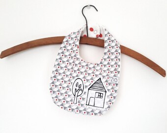 Hand painted bib double face. House with tree.