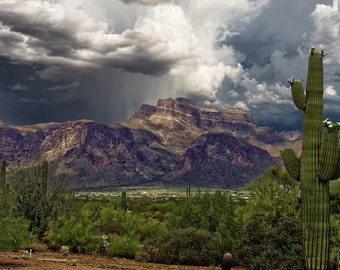 Summer Storm over the Superstition Mountains, custom art, photography, landscape, Lost Dutchman Mine, wall art, canvas art