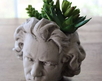 "Handmade Concrete Indoor Outdoor Garden Planter Bust - The ""Beethoven"" Pot Head"