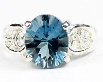 Quantum Cut London Blue Topaz, 925 Sterling Silver Ladies Ring, SR369