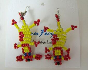 Seed bead dog earrings, Loom Animal Dog Earrings, Colorful Fun Playful Earrings