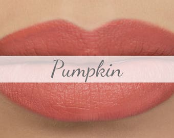 "Vegan Matte Lipstick Sample - ""Pumpkin"" salmon orange/peach natural lipstick with organic ingredients"