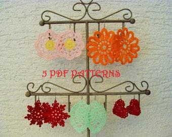 FIVE Crochet Earrings PDF Patterns