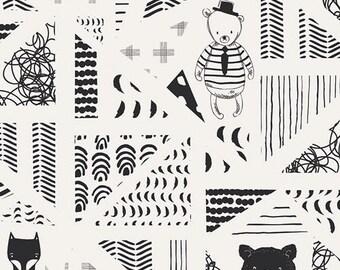 Nest from Art Gallery Fabrics - Full or Half Yard Swirly Friends Bears and Geometrics and Fox in Black and White