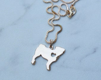 Pug Necklace   Gold Plated Customizable with Birthstone & Engraving   Custom Pug Lover Gift / Jewelry