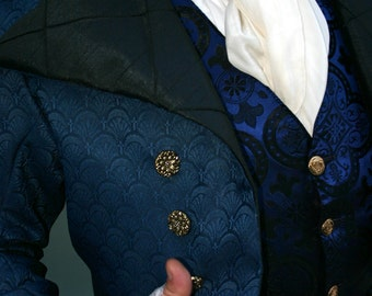 Royal Blue and Black Filigree Tapestry French Steampunk Frock Cutaway Coat, Waistcoat, Frilly Shirt and Cravat
