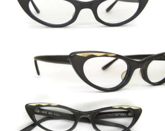 Cateye Glasses, Vintage Black and Gold Eyeglasses, Black Cateye with Gold Trim on Temples Ladies Cat Eye Glasses