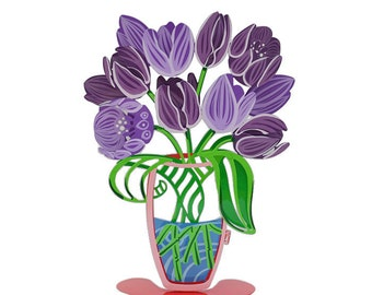 A purple large bouquet of Tulips