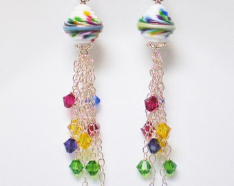 Rainbow Lampwork Earrings with Crystal Beaded Sterling Silver Tassels, Colorful Tassel Earrings in Red, Yellow,Green, Blue and Purple