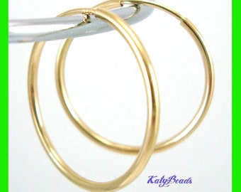 14mm 14k Gold Filled Endless hoop Earring Round Circle Ear Wire Earwires GE18