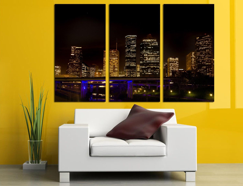 Houston Texas Skyline at Night 3 Panel Split Triptych