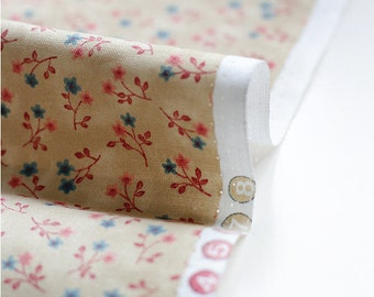 Cotton Fabric Tiny Flowers - Beige - By the Yard 38513