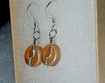 Earrings peach glass sterling silver