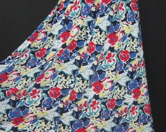 LAURA ASHLEY Vintage Mediterranean Summer Cotton Jersey Button-Through Skirt, S/M