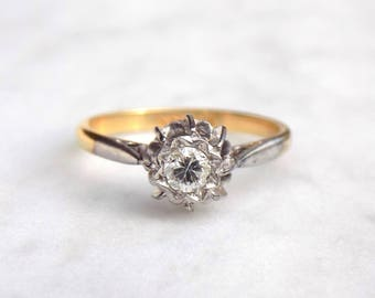 Mid 19th Century Diamond Engagement Ring in 18ct Gold and Platinum