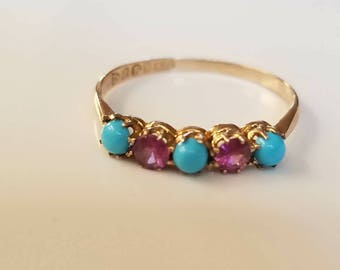 Antique ring turquoise amethyst 9ct gold 6 3/4 Edwardian ring stack ring heirloom jewelry  Right hand ring Gift for her