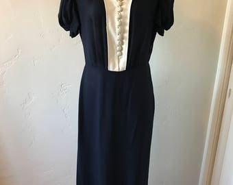 Navy Blue Sheer Crepe 1930s Dress with white rim collar and buttons