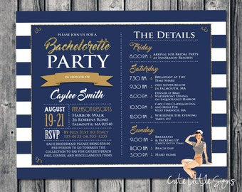 Nautical Navy Bachelorette Bridal Party Itinerary Digital Download