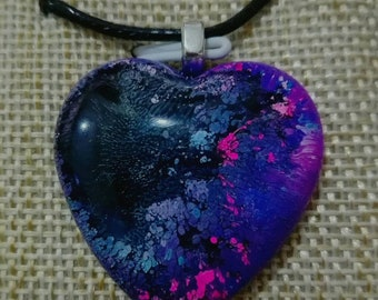Necklace with resin heart. Handmade