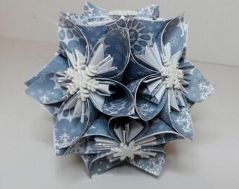 Small Kusudama Flower Ball Ornament (Snowflakes V11)