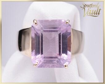 Vintage ~ Ladies Amethyst Right Hand Ring ~ 10K Yellow Gold Setting~ 12.0 x 10.0 mm Genuine Emerald Cut Amethyst ~ STR16062 ~ GIA ~ 1250.00