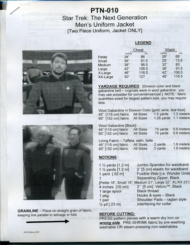 Star Trek TNG Next Gen Men\'s Uniform Jacket Pattern