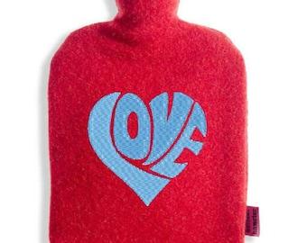 Hot water bottle cover in 100% Merino Wool with TÜV of certified hot water bottle