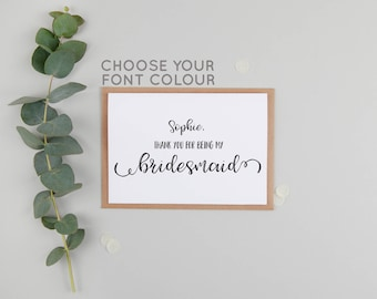 Personalised Thank You For Being My Bridesmaid - Bridesmaid Thank You Card - Maid of Honour/Honor Thank You Card - Personalized Cards