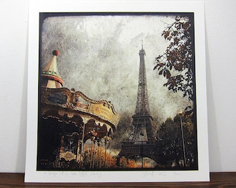 The carousel and Eiffel Tower - photo 30 x 30 print - signed and numbered