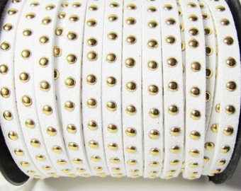 D-02671 - 1 m  Faux suede cord White 4,5x2mm with Deko rivets