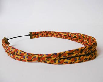 headband with funky fabric and elastic clasp