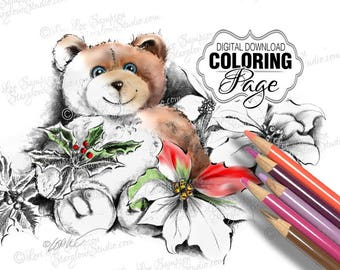Coloring Pages: Adult Coloring Page Printable Download, Christmas Teddy Bear with Poinsettia Flowers