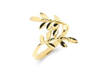 14k solid gold leaf ring. trendy ring. index ring.