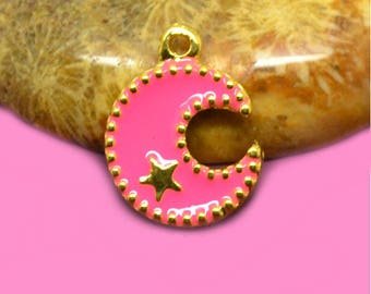 4 enameled charms Moon 17x13mm