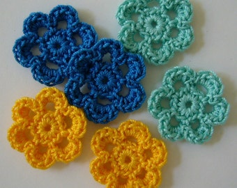 Mini Six Crocheted Flowers - Aqua, Blue Hawaii and Goldenrod Yellow - Cotton Flowers - Set of 6
