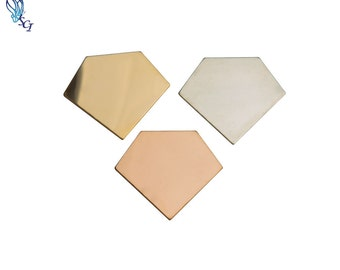 Pentagon Shape Stamping Blank, Sterling Silver, Gold Filled, Rose Gold Filled, 24 Gauge, Hand Stamping, Stamping Supplies,Geometric, ST151DR